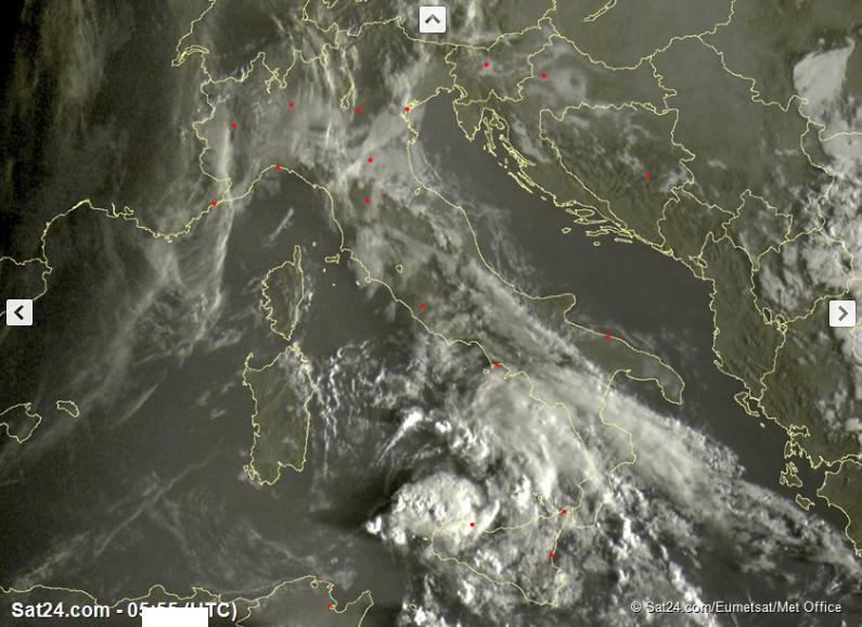 Tempo instabile o perturbato al Sud Italia, migliora altrove - sat24.com