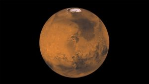 Marte, nube bianca nei pressi di un vulcano