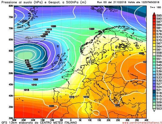 Ultime uscite dei modelli meteo che mostrano un inizio di novembre piuttosto piovoso