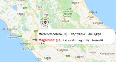 Terremoto oggi Lazio 6 novembre 2018