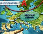 Tendenza meteo 19-23 novembre, maltempo e clima freddo