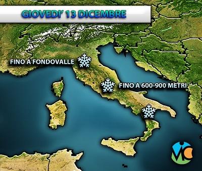 In arrivo nelle prossime ore piogge e nevicate in Italia, anche a quote basse.