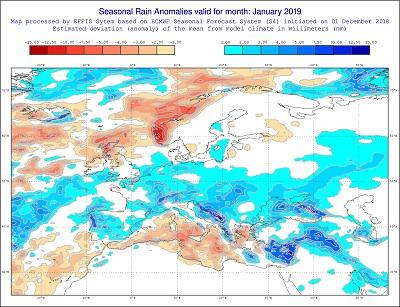 Anomalie di temperatura previste dal modello ECMWF per gennaio 2019 - effis.jrc.ec.europa.eu