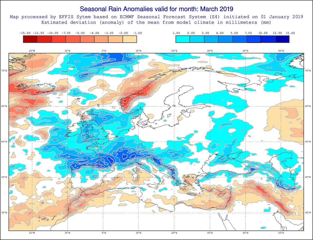 Anomalie di precipitazione per Marzo 2019 secondo il modello ECMWF - effis.jrc.ec.europa.eu