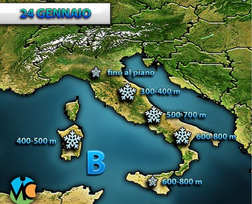 Torna la NEVE anche al nord ITALIA, fino in pianura Padana e lungo le coste