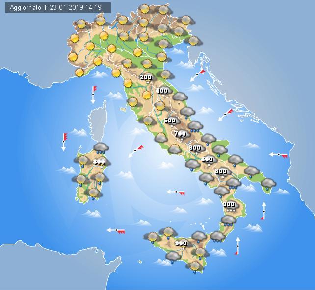 Meteo Oggi 24 Gennaio 2019: migliora al nord, neve e maltempo sulla Sardegna. Piogge sparse al sud Italia
