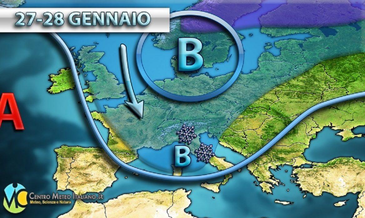 Tendenza meteo prossimo weekend, neve in arrivo in Italia nella giornata di Domenica