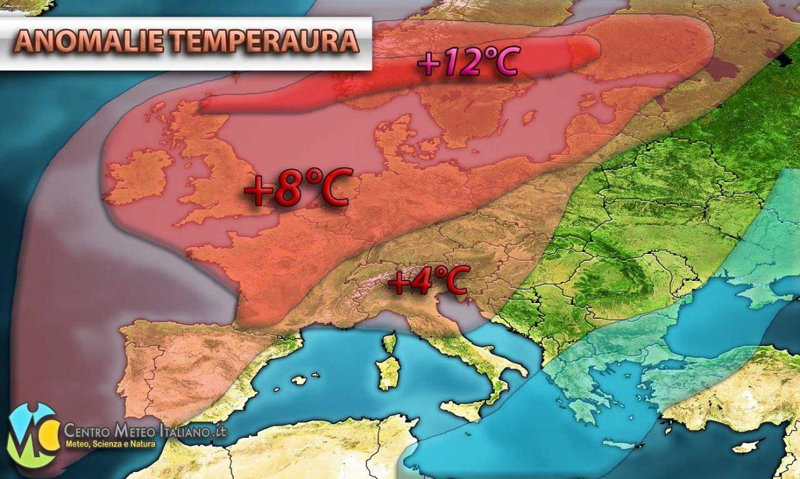 Importanti anomalie di temperatura sull'Europa nel corso dei prossimi giorni