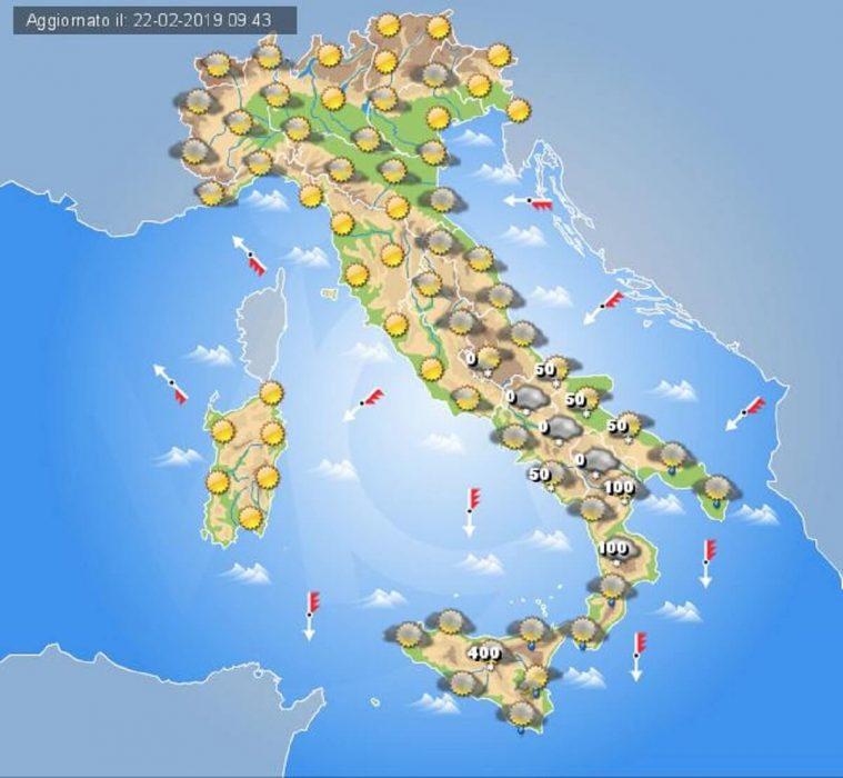 Tempo previsto in Italia per la giornata di domani, Sabato 23 Febbraio
