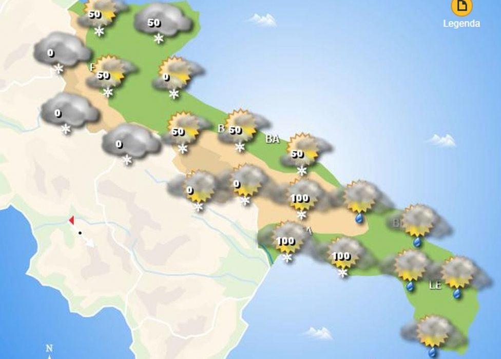Neve Puglia: nevicate in arrivo su molti tratti costieri!