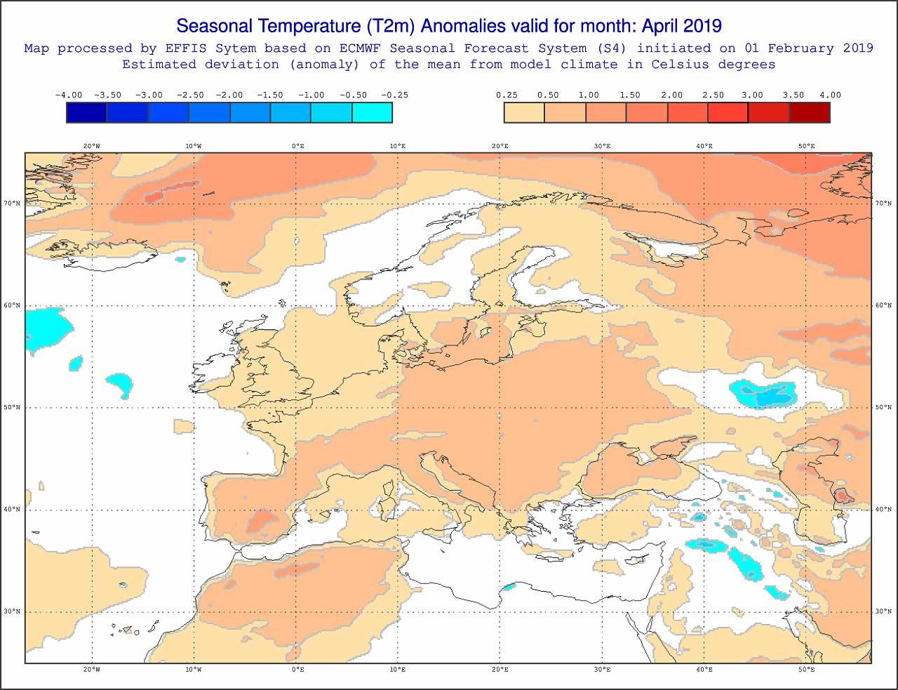 Anomalie di temperatura previste dal modello ECMWF per aprile 2019 - effis.jrc.ec.europa.eu