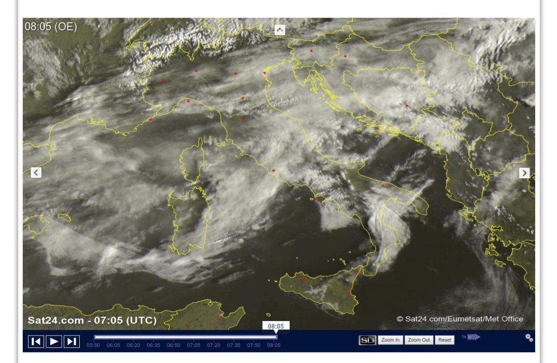 Molte nuvole in transito sull'Italia ma con tempo asciutto - sat24.com