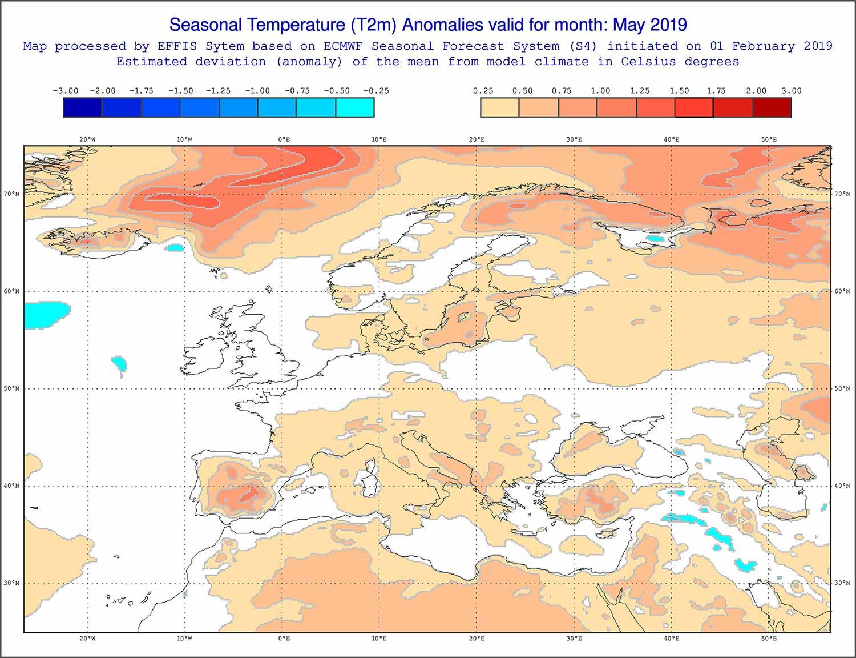 Anomalie di temperatura previste dal modello ECMWF per l'inizio della primavera - effis.jrc.ec.europa.eu