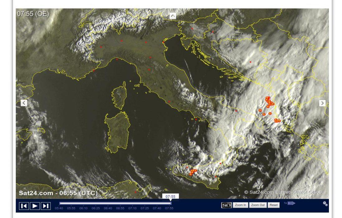Temporali e neve al Sud Italia, condizioni meteo in miglioramento altrove - sat24.com