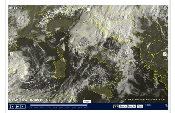 Molte nuvole con piogge e temporali al Centro-Sud, migliora altrove - sat24.com