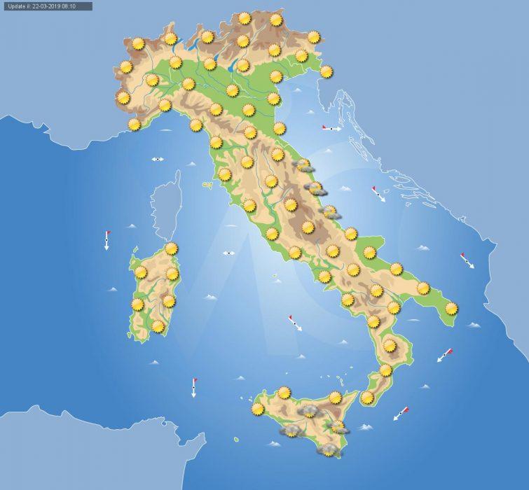 Previsioni meteo in Italia per domani, 23 marzo 2019