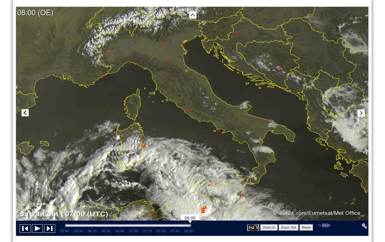 Tempo stabile con sole prevalente tranne che sulle Isole Maggiori - sat24.com