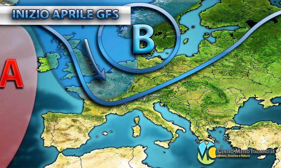 Cambio di circolazione per l'inizio di aprile con il ritorno delle piogge al Nord italia