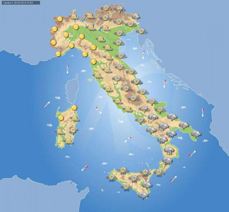 Previsioni meteo in Italia per domani, 27 marzo 2019