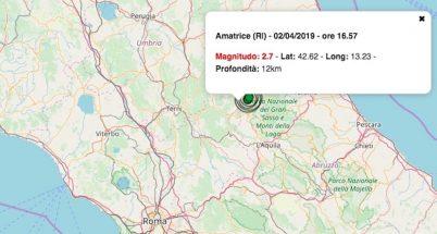 terremoto oggi lazio 2 aprile 2019