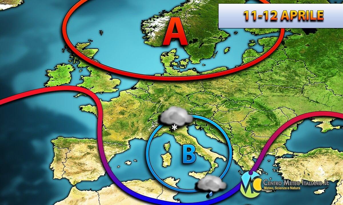 Maltempo previsto in Italia per metà settimana