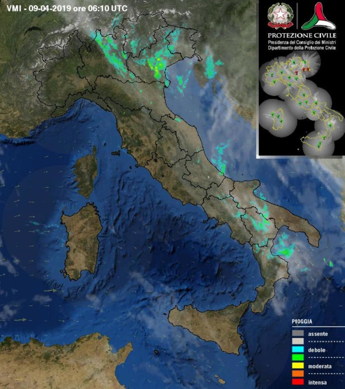 Precipitazioni attuali dal radar - protezionecivile.gov.it