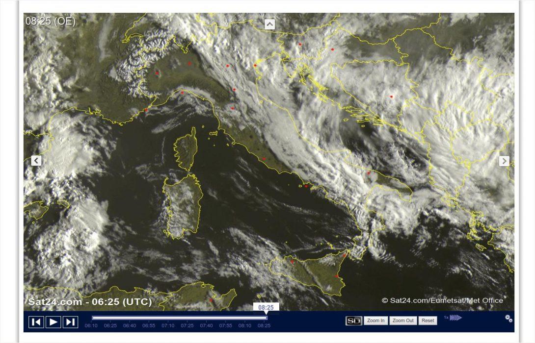 Tempo instabile con nuvole e piogge sull'Italia - sat24.com