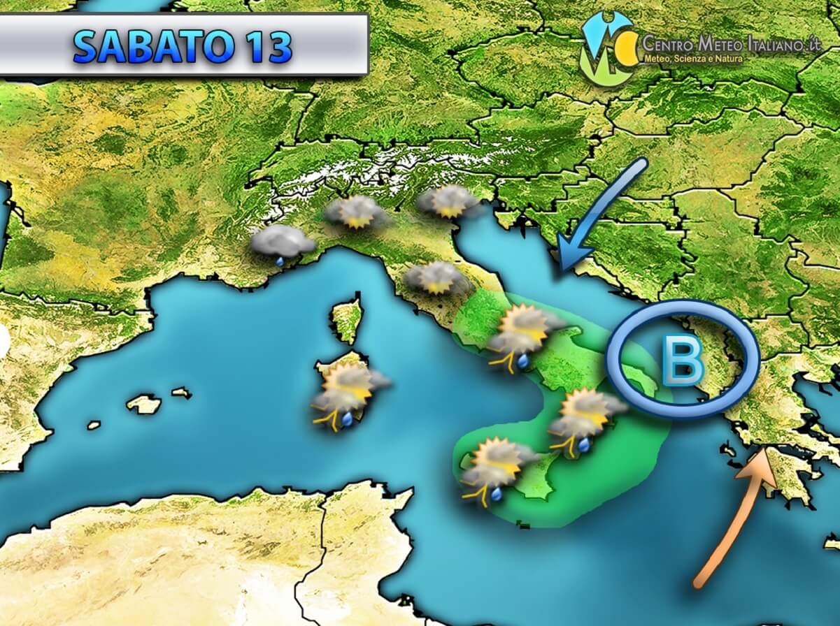 Tendenza meteo per il prossimo weekend.