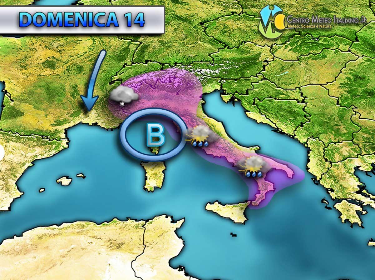 Perturbazione in arrivo nel weekend, con un nuovo peggioramento meteo su tutta Italia che porterà sia piogge che neve a bassa quota.