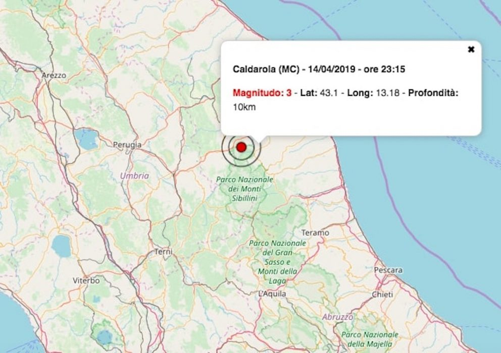terremoto oggi 15 aprile 2019