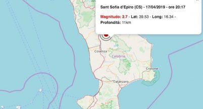 terremoto oggi calabria 17 aprile 2019