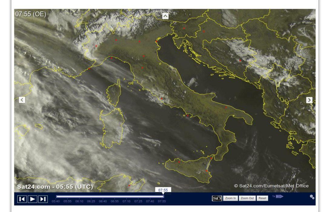 Poche nuvole e molto sole sull'Italia - sat24.com