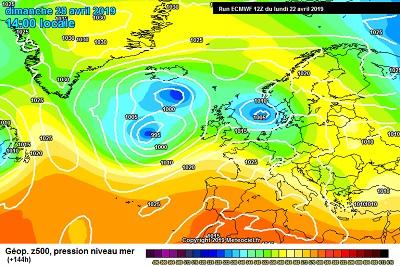 Modello meteo Ecmwf per gli ultimi giorni di Aprile, fonte meteociel.fr