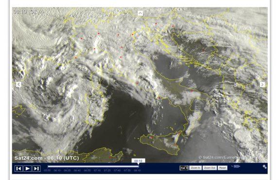 Molte nuvole con piogge e temporali sparsi - sat24.com