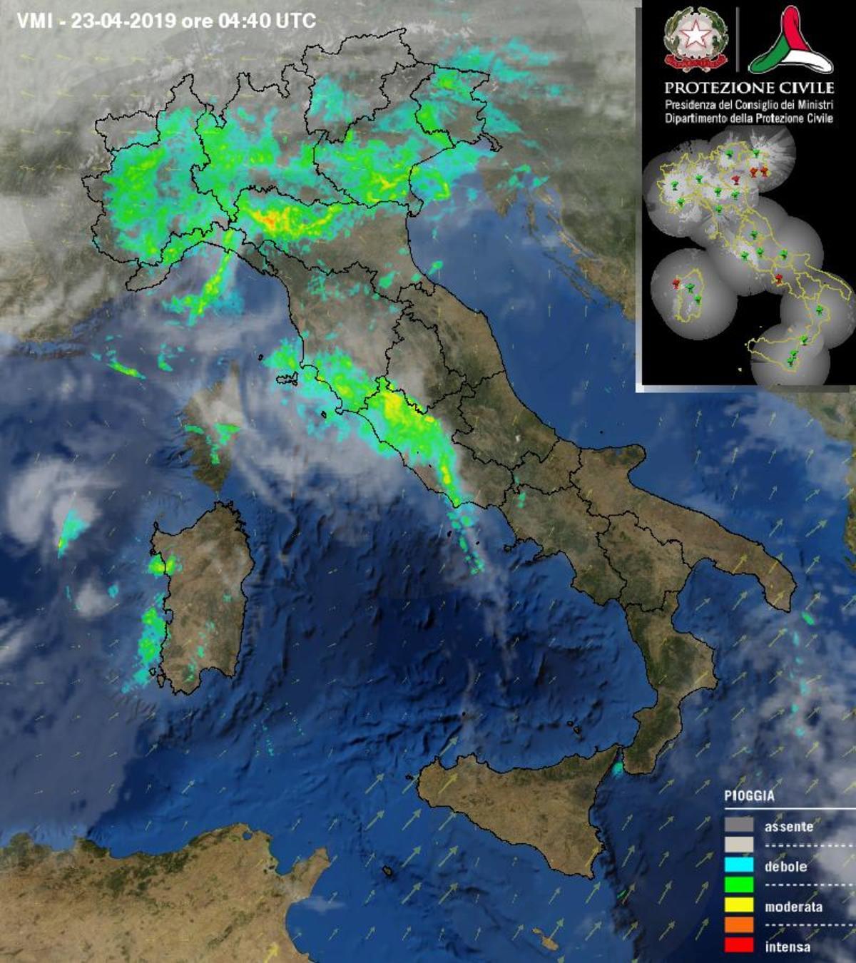 Piogge e temporali al Centro-Nord - protezionecivile.gov.it