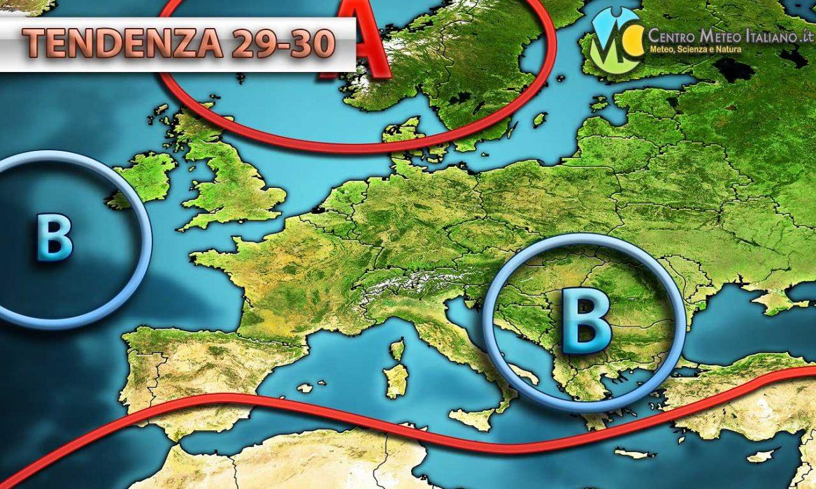 Per il 1 maggio sembra possibile che questo minimo si allontani verso i Balcani lasciando spazio alla piccola rimonta di un anticiclone sul Mediterraneo centrale.
