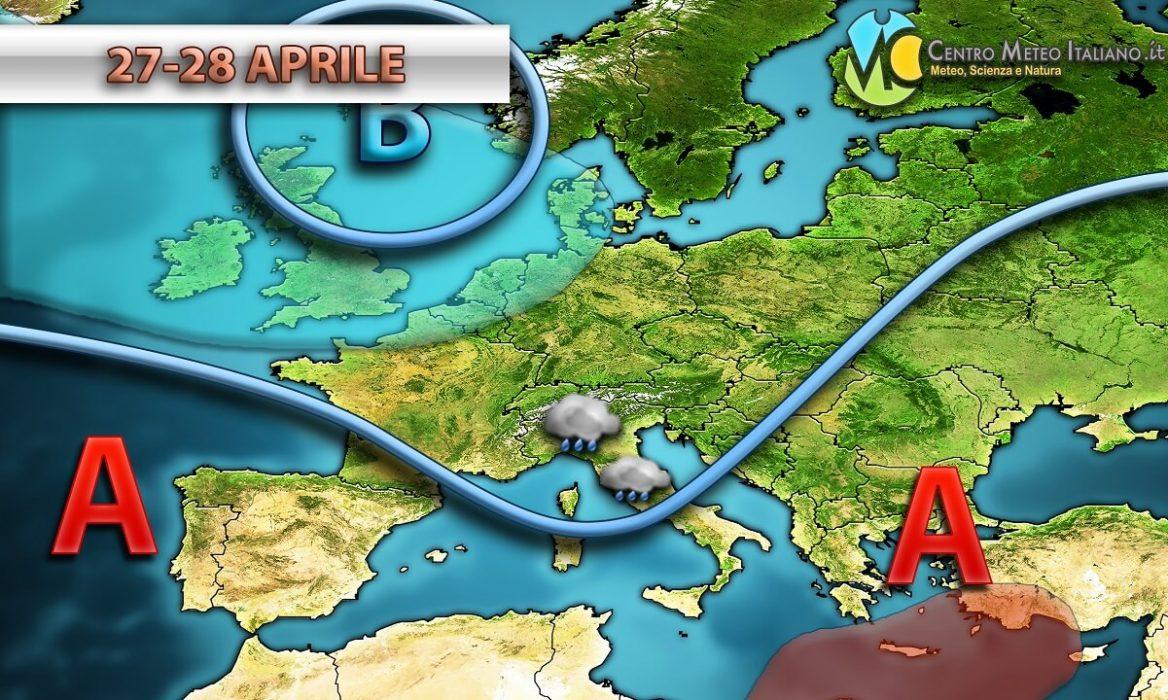 Tendenza meteo per l' ultimo weekend del mese di Aprile.