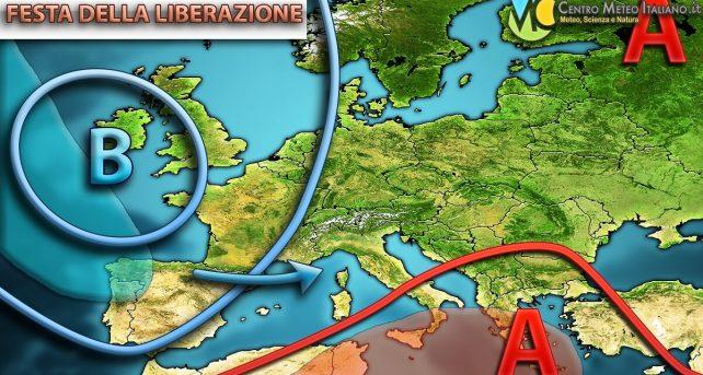 Circolazione atmosferica attesa in Europa per la Festa della Liberazione.