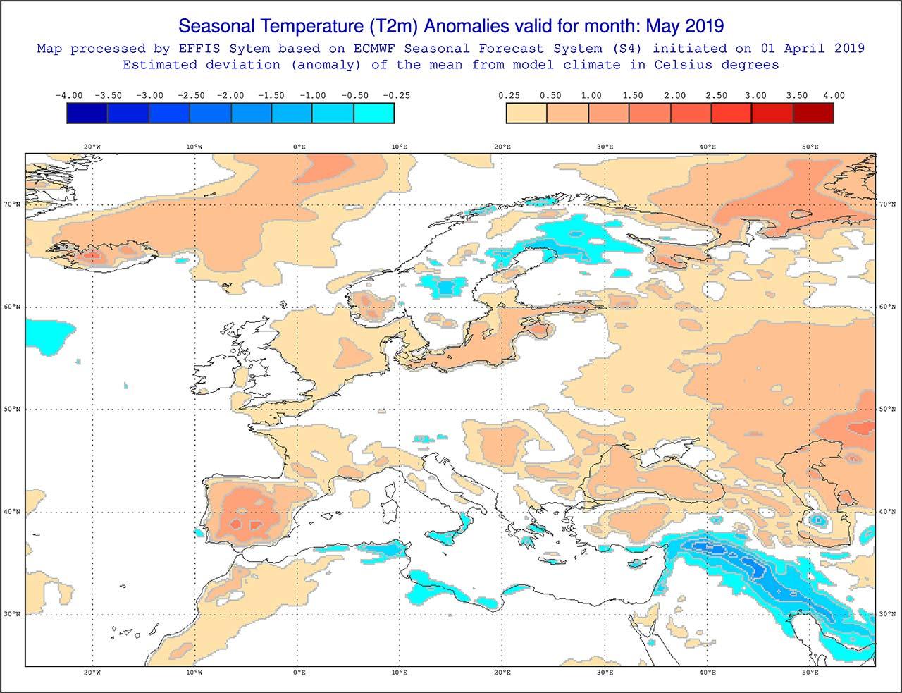 Anomalie di temperatura previste dal modello ECMWF per il mese di maggio 2019 - effis.jrc.ec.europa.eu