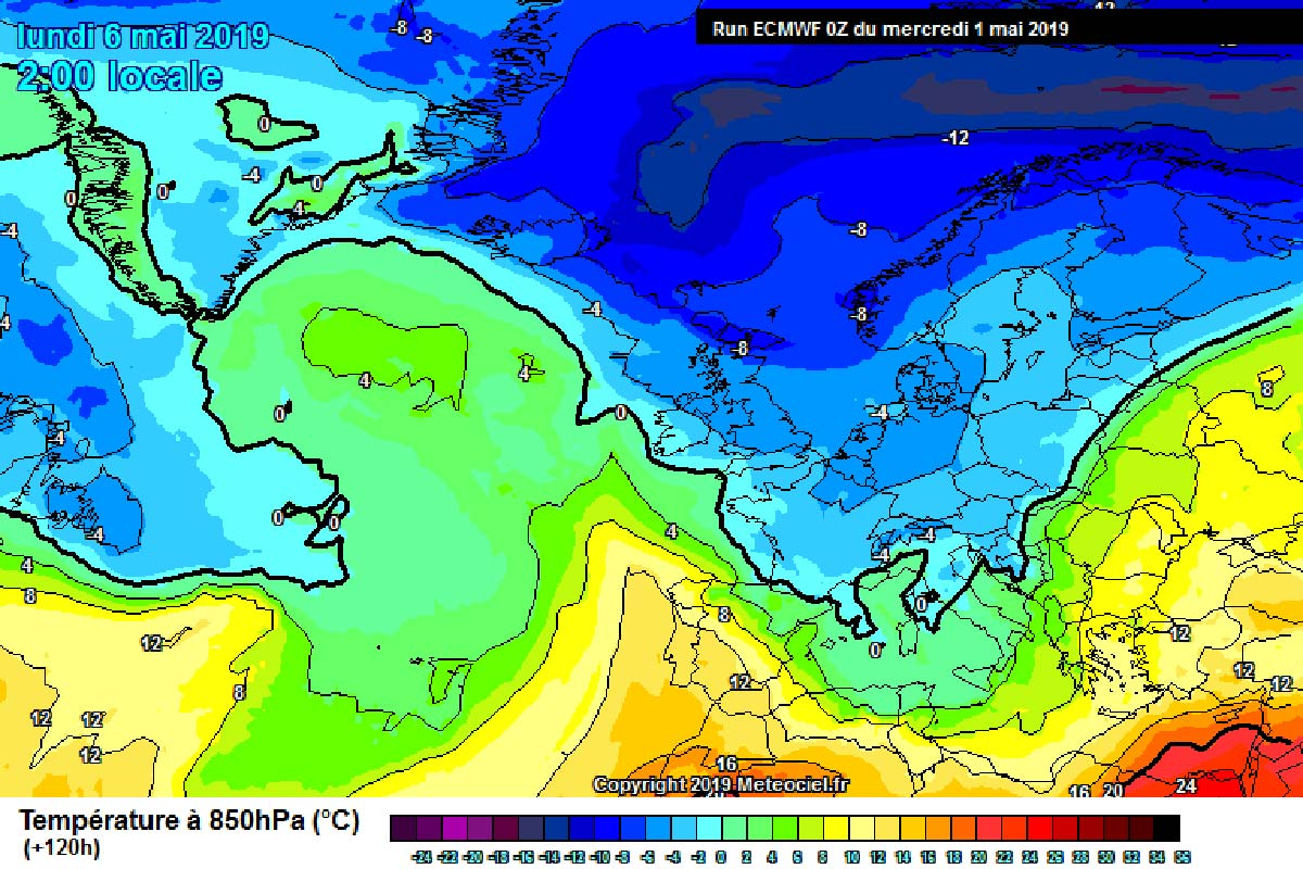 Temperature previste dal modello ECMWF tra Domenica e Lunedì - meteociel.fr