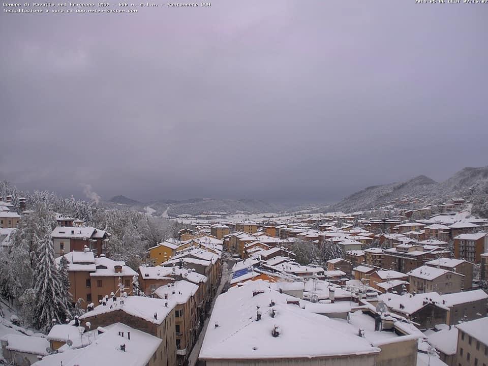 Neve a Pavullo nel Frignano, Emilia Romagna. Fonte centrometeoemiliaromagna.com