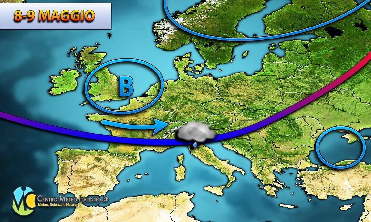 Maltempo previsto in Italia centro-settentrionale.