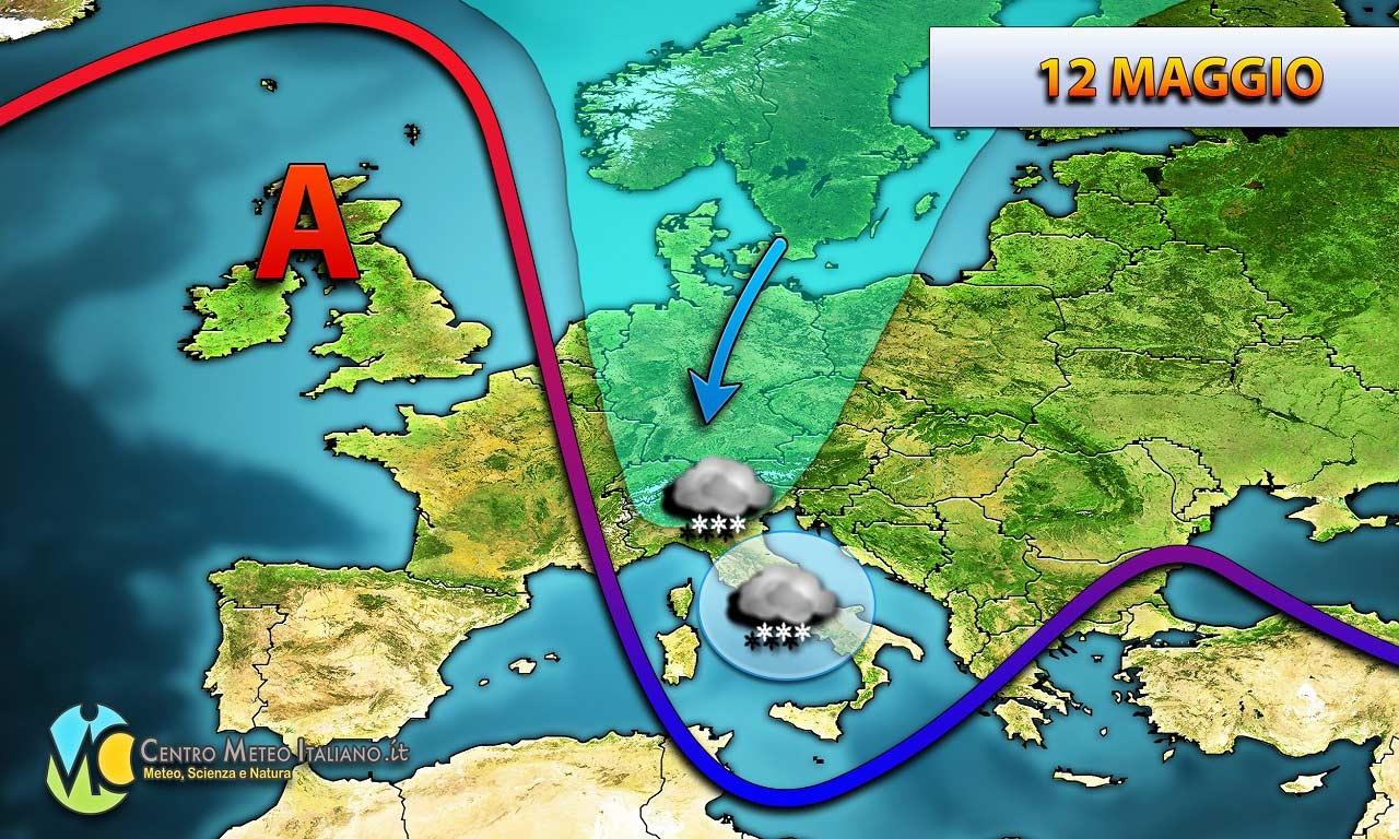 Nuovo peggioramento meteo atteso nel weekend sull'Italia, con una perturbazione che porterà maltempo e aria più fredda.