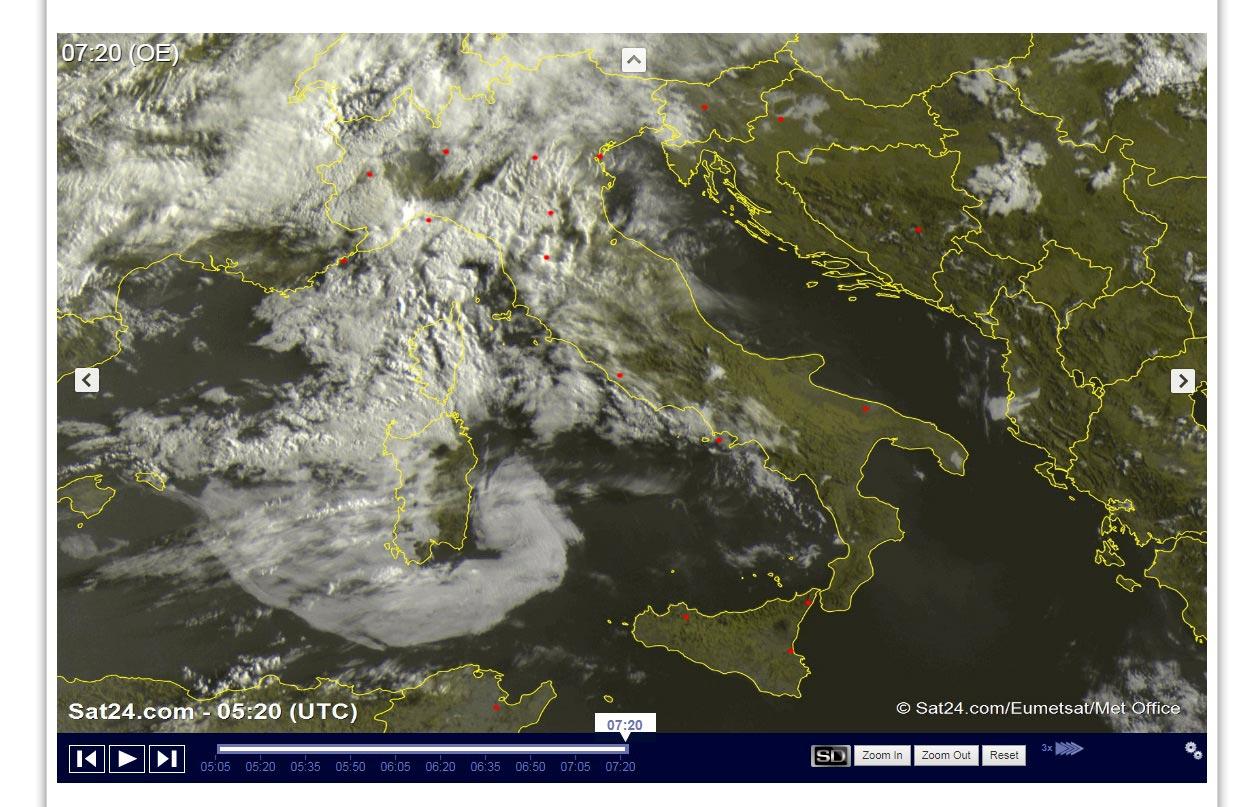 Molte nuvole ma ancora poche piogge sull'Italia - sat24.com