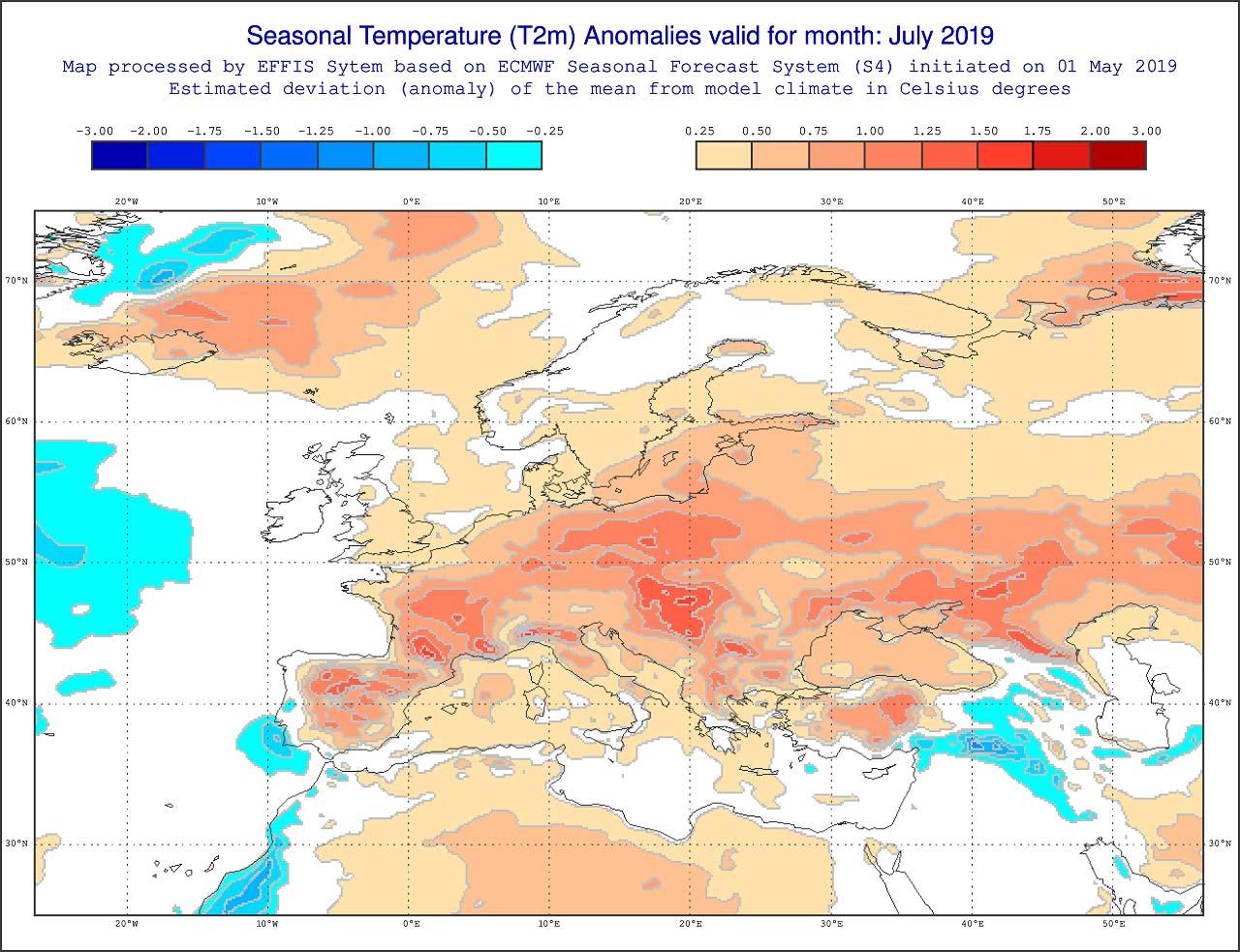 Anomalie di temperatura previste dal modello ECMWF per luglio 2019 - effis.jrc.ec.europa.eu.jpg