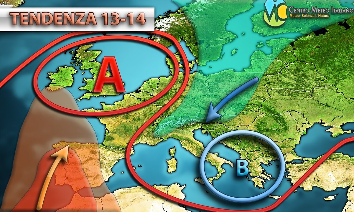 Tempo perturbato in gran parte dell' Italia nelle prossime ore.
