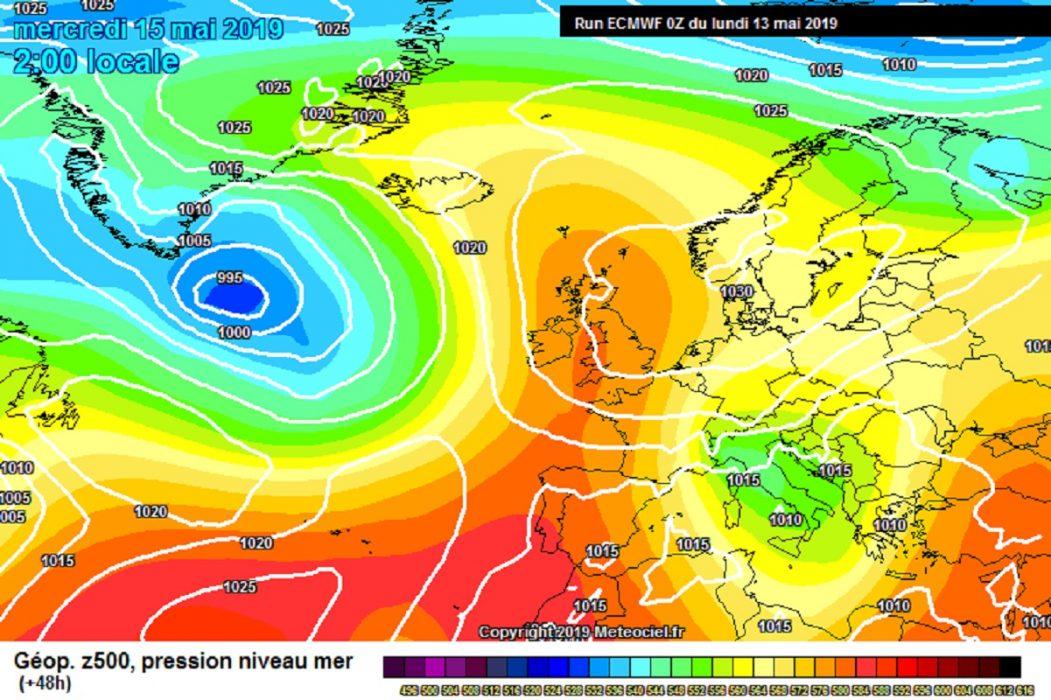 Modello meteo ECMWF per Mercoledì 15 Maggio. Fonte meteociel.fr