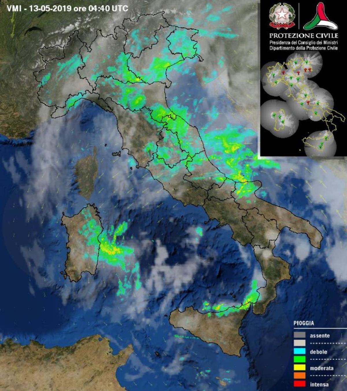 Piogge e temporali come si può vedere dall'immagine radar - protezionecivile.gov.it.