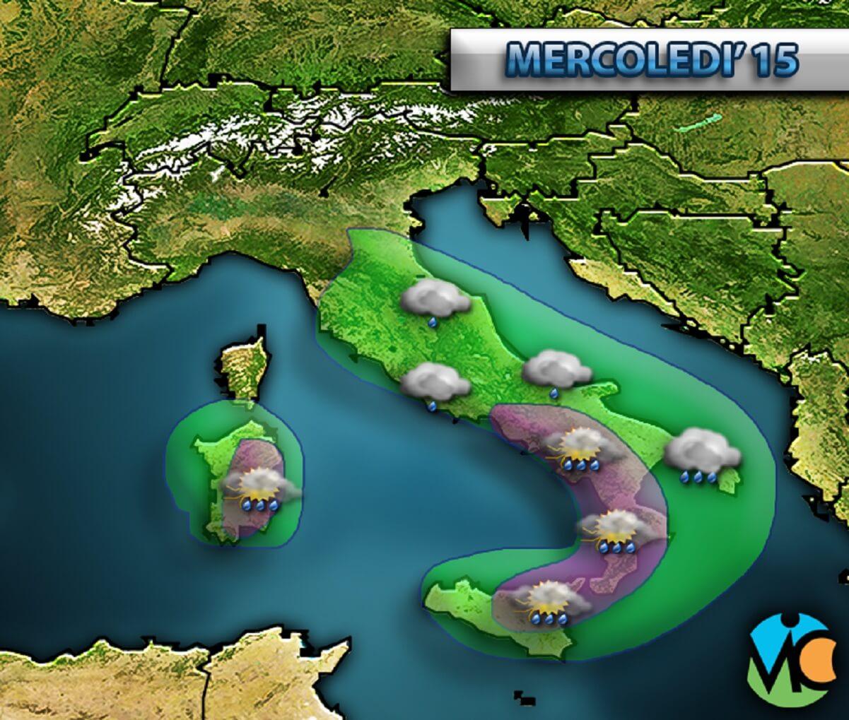 Maltempo in arrivo sulle regioni centro-meridionali d' Italia.