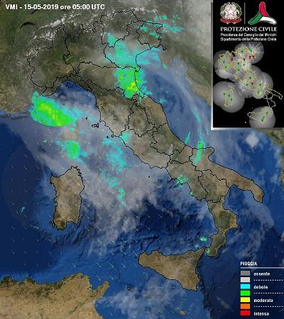 Tempo instabile in Italia con piogge, temporali e nevicate in montagna. Fonte: protezionecivile.gov.it.